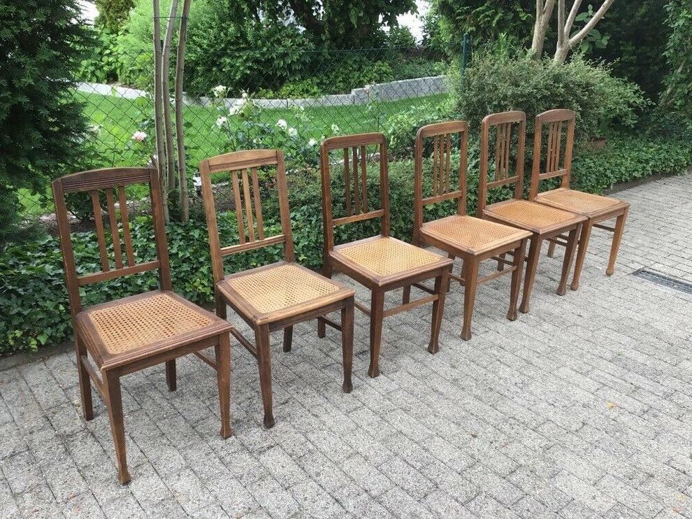 6 antike Stühle, Holzstühle (Jugendstil)