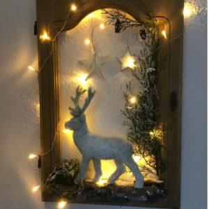 Bild beleuchtet, Weihnachtsdeko, Rentier