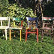 4 Küchenstühle aus Holz (Vintage, shabby)