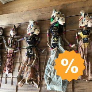 5 asiatische Theaterpuppen, Stabpuppen, Marionetten