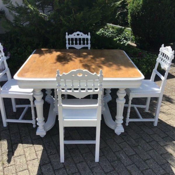 Antiker Esstisch mit 4 Stühlen (Gründerzeit, shabby, Landhausstil)