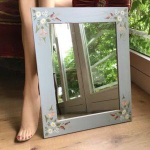 Holzspiegel, Spiegel (shabby, Landhausstil, Bauernmalerei)