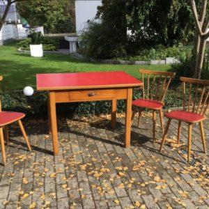 Esstisch mit 3 Stühlen, Esszimmer (original Vintage)