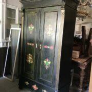 Kleiderschrank, Holzschrank, Bauernmalerei, Garderobenschrank, Schrank (Antiquität, Landhausstil)