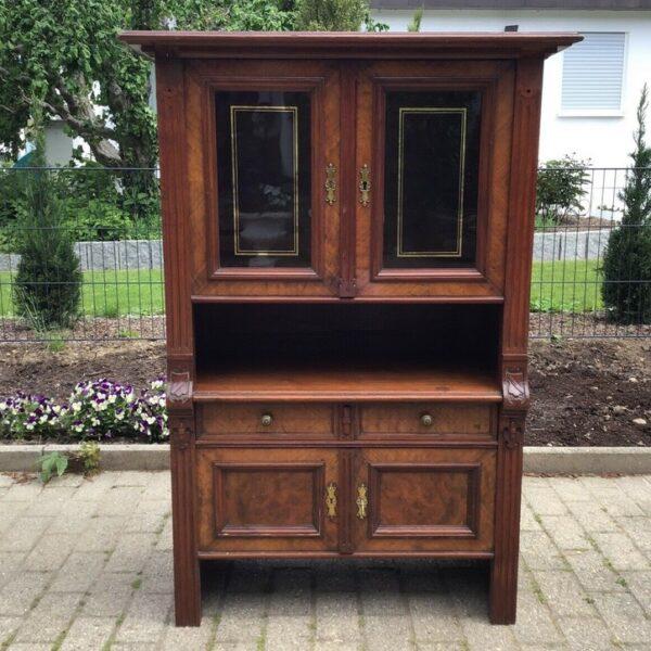 Vitrinenschrank, Holzschrank (Antiquität, englisches Stilmöbel)